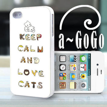 iPhone 4 case, Keep Calm and Love Cats, custom cell phone case, Original design