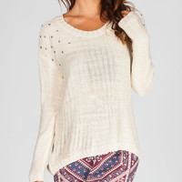 Full Tilt Nail Head Womens Hi Low Sweater Cream  In Sizes