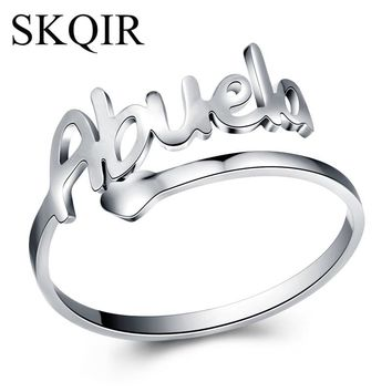 SKQIR News Silver Stainless Steel Love Abuela Cuff Rings For Women Jewelry Mother's Day Gift Open Grandmother Ring anillos mujer