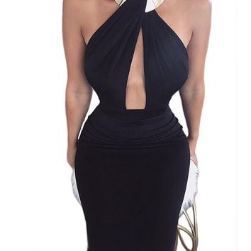 Halter Backless Split Dress