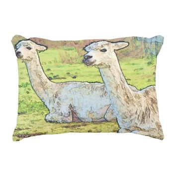 White Alpacas on Farm Accent Pillow
