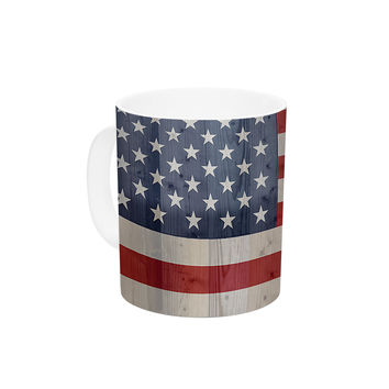 "Bruce Stanfield ""USA Flag On Spruce"" Blue Red Ceramic Coffee Mug"