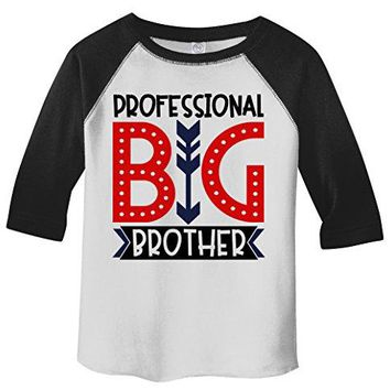 Shirts By Sarah Boy's Toddler Professional Big Brother T-Shirt Cute Sibling Shirt 3/4 Sleeve Raglan