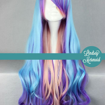 UNICORN PASTEL  Cosplay Fantasy Wig // Blue, Purple, and Pink