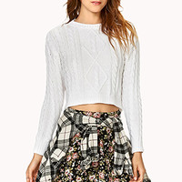 FOREVER 21 Cropped Cable Knit Sweater White