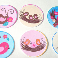 Spring Birds In Nests Stickers Or Envelope Seals Set of 30 Birds of Many Colors  Twig Nests