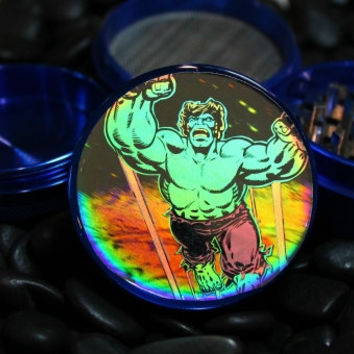 Incredible Hulk Hologram herb grinder 4 piece metal with scraper