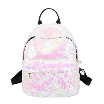 Women All-match Bag Leather Sequins Backpack Girl Small Travel Princess Backpack