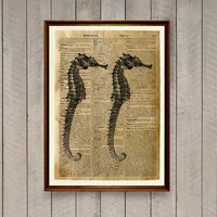Seahorse print Nautical decor Sea life poster Dictionary page WA831