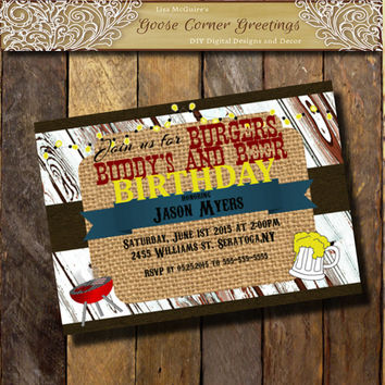MANS BIRTHDAY BBQ  Invitation Burlap Wood Chalkboard Baby Shower Invitation Rehearsal Dinner Wedding invitations Surprise any color Leather