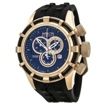 Invicta 15774 Men's Bolt Reserve Blue Dial Rose Gold Steel Black Rubber Strap Chronograph Dive Watch