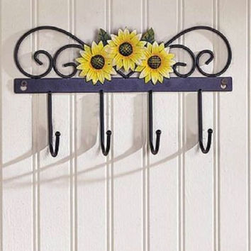Wall Hooks Country Kitchen Decor Iron Sunflower Farmhouse Rustic Primitive NEW