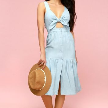 Bennett Light Blue Chambray Tie-Front Midi Dress