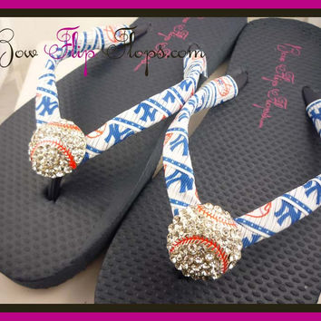 NY Yankees Ribbon Baseball Flip Flops with Bling Rhinestone New York Baseball