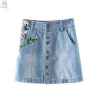 Light Blue Floral Embroidery Denim Mini Skater Skirt Buttoned Up A Line High Waist Casual Streetwear 2016 Women Summer