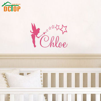 DCTOP Customized Name Wall Art Decals Magic Wand Fairy Wall Stickers Home Decor For Kids Room