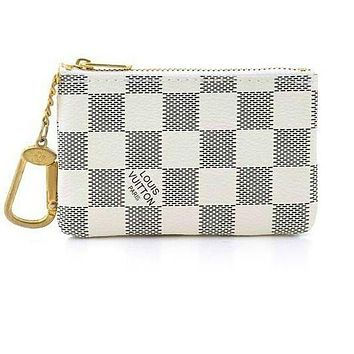 Fanewants / LV Louis Vuitton Monogram White Tartan Canvas PU Small Coin Purse Key Pouch