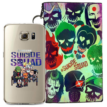 Suicide Squad Jelly Clear Case For Samsung Galaxy S7 EDGE + Pouch