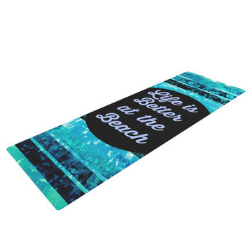 "Ebi Emporium ""Life is Better at the Beach"" Blue Aqua Yoga Mat"