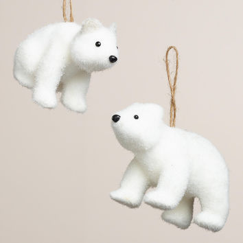Glittered Fabric Polar Bear Ornaments, Set of 2 - World Market