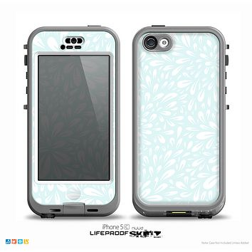 The Light Teal Blue & White Floral Sprout Skin for the iPhone 5c nüüd LifeProof Case