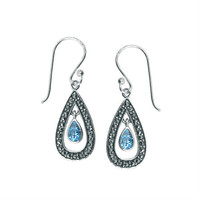 Boma Jewelry Earrings - Blue Topaz and Marcasite Sterling Silver Wire Drop