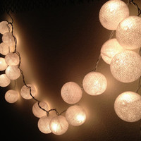 White Cotton Ball Lights for home decoration,wedding patio,indoor string lights,bedroom fairy lights,20 Bulbs