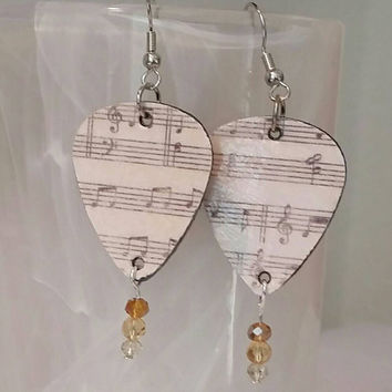 Guitar Pick Jewelry by Betsy's Jewelry - Earrings - Musical Notes - Musician - Rocker - Music Lover - Upcycled Jewelry Style