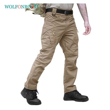 WOLFONROAD Winter Outdoor Sport Hiking Pants IX9 Men Rip-stop Tactical Pant City Cargo Slim Pants Men's Military Combat Trousers