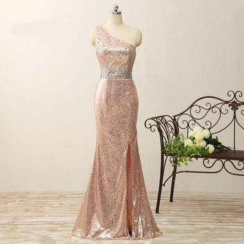Sexy Side Slit One Shoulder Beaded Long Prom Dresses Sleeveless Sequin Open Back Mermaid