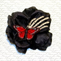 Black Rose Butterfly Skeleton Hand - Pinup Rockabilly Flower Hair Clip