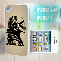 unique iphone case, i phone 4 4s 5 case,cool cute iphone4 iphone4s 5 case,stylish plastic rubber cases cover, funny  skull  music  p1001