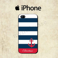 Personalized iPhone Case - Nautical Anchor Stripe - iPhone 4 Case - iPhone 5 case