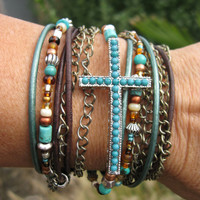 "Boho - ""Mahogany"" - Endless Leather Wrap Bracelet"