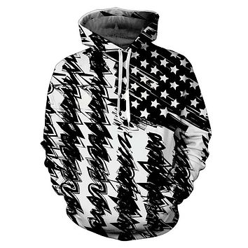 Mr.1991 INC & Miss Go Brand 3d Print Black White USA Flag Unisex Hoodie