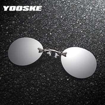 YOOSKE Clip On Nose Sunglasses Men Vintage Hacker Empire Matrix Morpheus Rimless Sun Glasses Round Glasses UV400