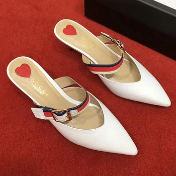 GUCCI Women Fashion Mules Shoes Pointed Toe High Heels Shoes