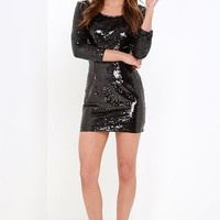 Happy Hour Black Sequin Dress