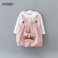 Baby girl clothing Sets fashion cotton long sleeve T-shirt and cartoon strap dress girls clothes