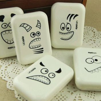 Eyekan tooth eye Lens Case men plastic cosmetic partner cute contact lenses box eyeglass case AM8106
