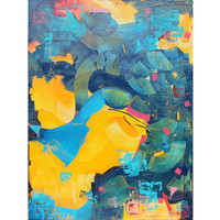 Large Original Abstract Oil Painting – Jump Over – stretched canvas 36x48in; approx. 90x120cm-no need for framing-free shipping