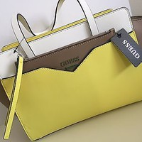 BNWT Guess Color Block Yellow White Taupe Handbag
