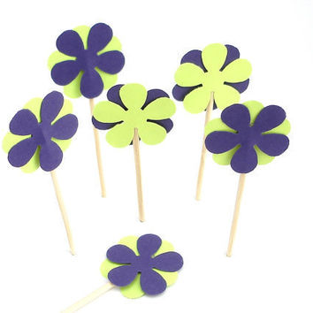 24 Decorative Green Purple Retro Flower Party Picks, Cupcake Toppers, Toothpicks, Food Picks - No370