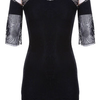 Black Seashell Bodycon Mini Dress