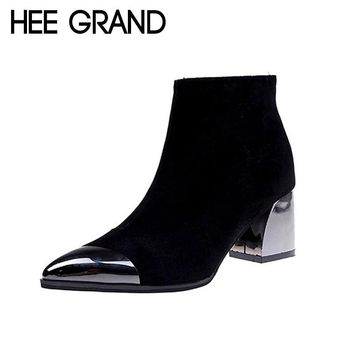 HEE GRAND 2018 New Women Fashion Boots Autumn Shoes with Lace-up Flock Leather Medium High Heel Ankle Boots Mujer Shoes XWX6875
