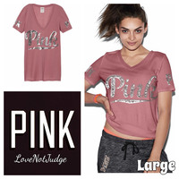 VS PINK BLING PERFECT VNECK TEE LARGE