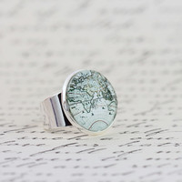 World Map Statement Ring -  Map Ring, Gift For Traveler, Map Jewelry, Travels Adventures, Novelty Ring, Mothers Day Gift