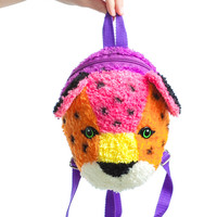 Vintage 90's Lisa Frank Fuzzy Hunter the Leopard Backpack
