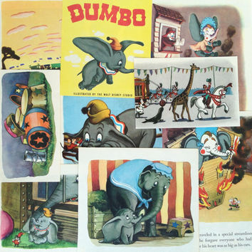 Disney's Dumbo vintage paper ephemera pack, upcycled salvaged book pages, for DIY, scrapbooking, collage, decor, snail mail, card making