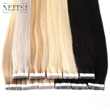 "Neitsi Brazilian Straight Skin Weft Hair Tape In None Remy Human Hair Extensions 22"" 2.2g/s 40pcs 14 Colors Adhesive Tape Hair"